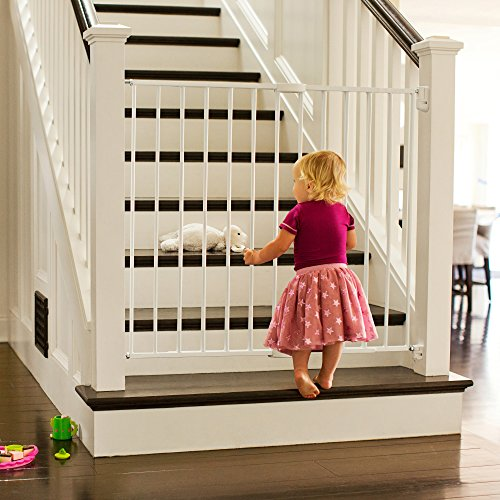 "Munchkin Extending XL Tall and Wide Hardware Baby Gate, Extends 33"" - 56"" Wide, White, Model MK0004"