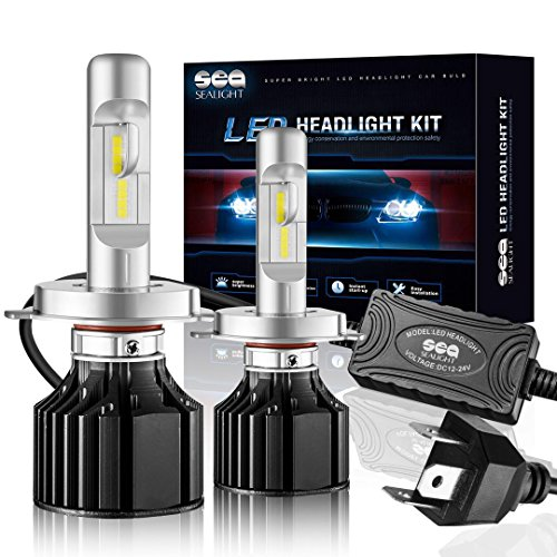 SEALIGHT X2 H4 LED Headlight Conversion Kit ( DOT Approved ) 100W 12000LM- 32x CSP LED Chips - Cool White 6000K - Dual Hi/Lo Beam Bulbs - H4/HB2/9003 bulbs - 2 Yr Warranty - Conversion Kit Honda Element