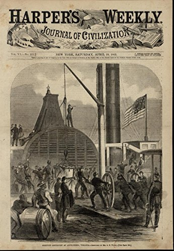 Shipping Artillery VA Cannon Flag Soldiers nice 1862 great old print for - Cannon Shipping
