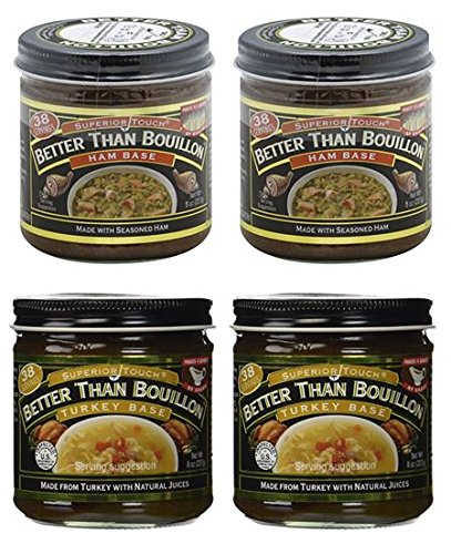 Better Than Bouillon Ham Base 8 oz and Turkey Base 8 oz (2 of each) ()