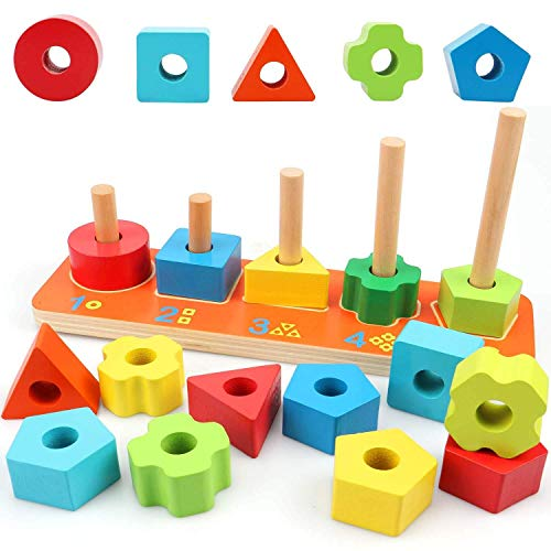 Wooden Preschool Shape Sorter Color Recognition Geometric Stacking Games Educational Toys for Baby Toddlers (Shapes Sorter)