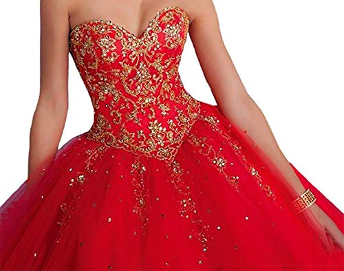 Vnaix Bridals Princess Lace with Tulle Sweet 16 Prom Quinceanera Dress(16,Red)