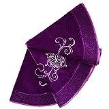 X.Sem Purple Velvet Embroidered Christmas Tree Skirt with Glitter Border 50'' (36 inch)
