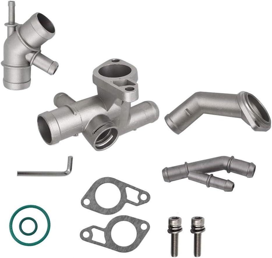 WFLNHB Cast Aluminum Coolant Flange Upgrade Kit 06A121133J for VW Golf Mk4 / Jetta Mk4 Audi TT 1J0121087E 06A121121C