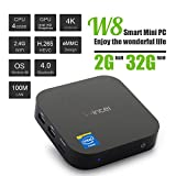 Wintel Mini PC W8 Intel Z3735F Quad Core Up to 1.83GHz 2GB/32GB Mini Computer Win 10 1080P HD with Bluetooth 4.0 Wifi with Official Licenced Key