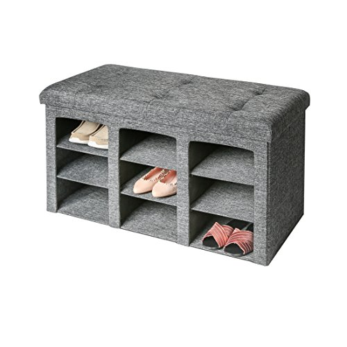 Seville Classics 9-Bin Foldable Tufted Shoe Storage Ottoman, single, Charcoal Gray