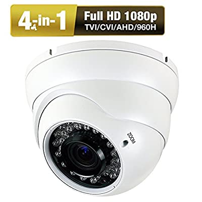 1080P Dome Security Camera HD 4-In-1 CCTV Camera 2.8mm-12mm Varifocal Lens 100ft IR Day/Night Monitoring IP66 ,Compatible with 1080P-AHD/CVI/TVI&CVBS DVR ( White ) from Amtronics