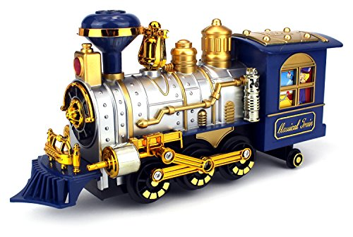 Classical Locomotive Battery Operated Bump and Go Toy Train w/ Smoking Action, Real Train Horn, Working Headlight (Colors May Vary) - Old Steam Locomotives