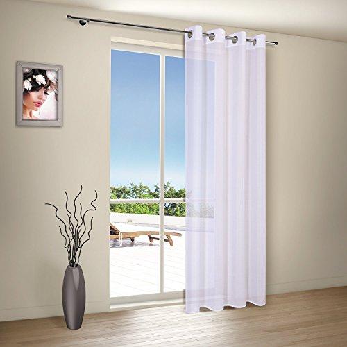 Vorhangschal / Gardine / Vorhang / Ösenschal ELLA / B/H: 140x235cm / halbtransparente Qualität / natürlicher Look / moderner Ösenschal 40mm (weiß)