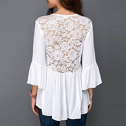 Lady Automne Dos Tops de T V en Casual Femme Loisirs Chemises Haut Dcontract Blanc Vest Cou Ouvert Chic Lache Chemisier Mousseline Soie Lace Panel Blouse Shirt 5APq6E