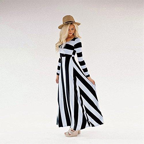 Vestidos Mujer Verano Elegante de Maxi Vestir Mangas Largos de para Playa Fiesta, Raya Moda Sexy Casual para Cóctel Evening Prom Ceremonia de la Boda: ...