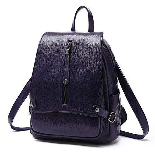 Xuaber Women Backpack Genuine Leather Casual Daypack Schoolbag for Girls Teenager Shoulderbag Knapsack (Blue)