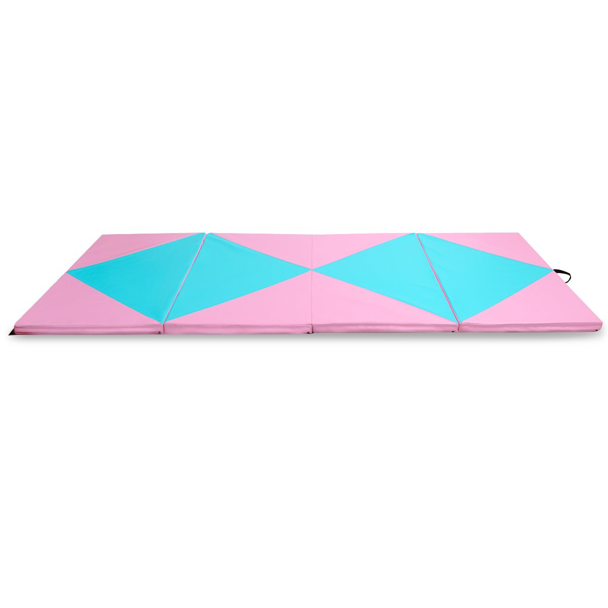 Giantex 4'x10'x2 Gymnastics Mat Thick Folding Panel for Gym Fitness with Hook & Loop Fasteners (Pink/Blue-Double Diamond)
