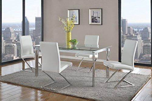 Milan Set Piece 5 (Milan TATIANA-CLR-JAINA-WHT Tatiana Clear Glass Rectangular 5 Piece Dining Set with White Chairs)