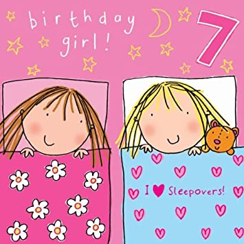 Twizler 7th birthday card for girl with sleepover and swarovski twizler 7th birthday card for girl with sleepover and swarovski crystal finish seven year old bookmarktalkfo Choice Image