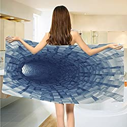 Outer Space Bathroom Towels Endless Tunnel with Fractal Square Shaped Segment Digital Dimension Artwork Print Towels Set Gray