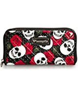 Loungefly Wallet Skull and Roses Faux Patent Leather Black