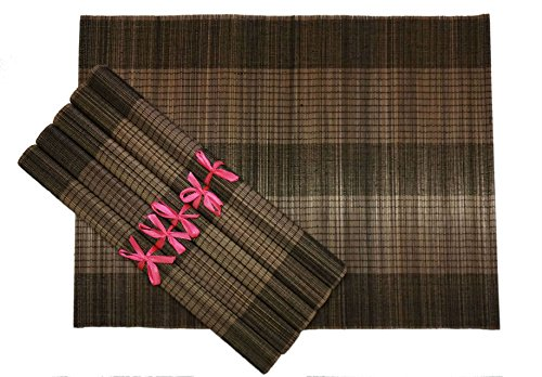 Bamboo Placemats - Set of 6 (Bark Brown)