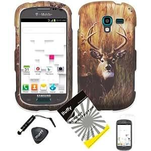 Quaroth 4 items Combo: ITUFFY (TM) LCD Screen Protector Film + Mini Stylus Pen + Case Opener + Outdoor Wild Deer Grass...