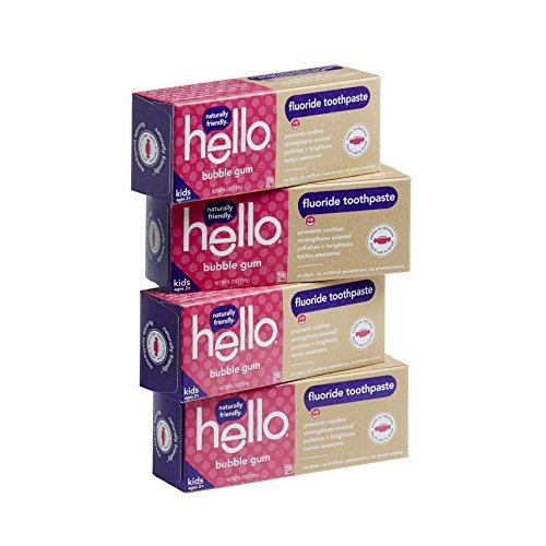 Hello Oral Care SLS Free Fluoride Toothpaste for Kids Age 2 Above, Bubble Gum, 4 Count