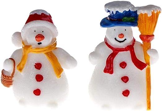LASISZ Figura de muñeco de Nieve de Navidad en Miniatura Decoración del hogar Jardín de Hadas