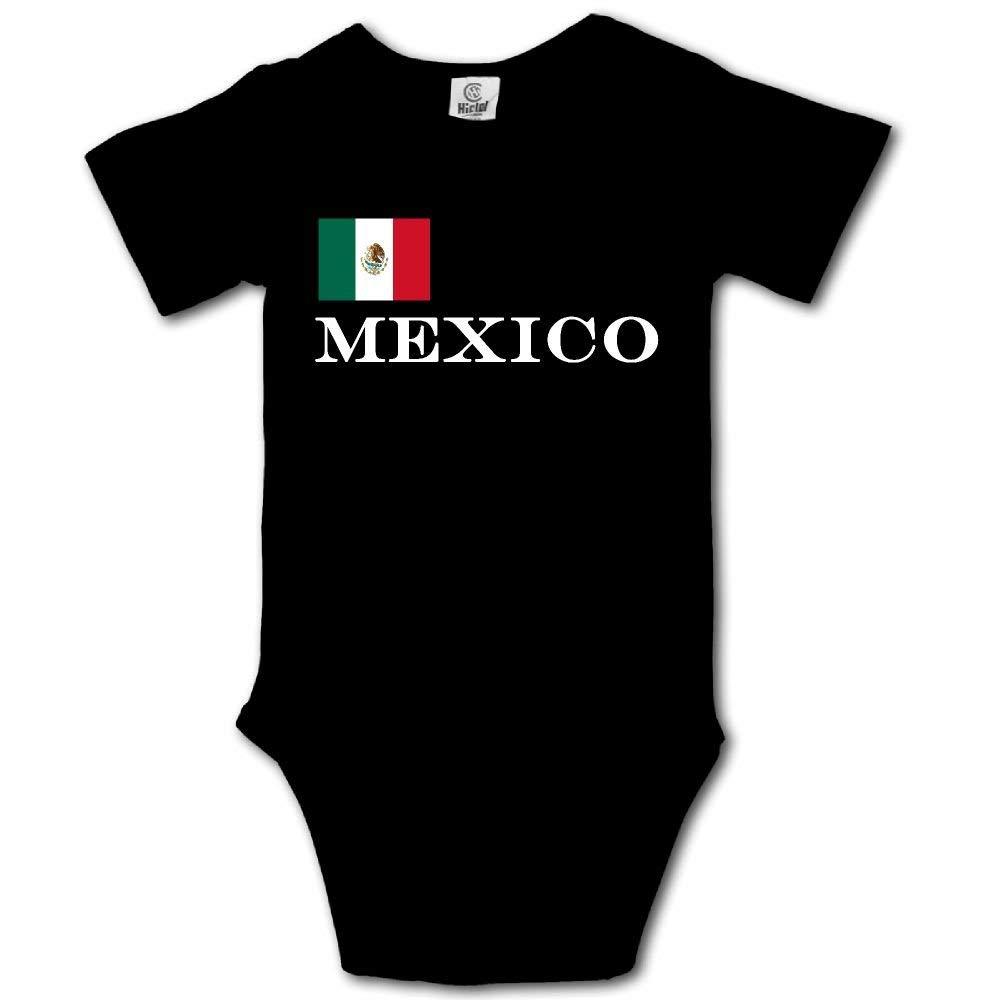 HFJFJSZ Mexico Flag Short Sleeve Baby Bodysuit Onesies