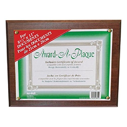 Nudell 18811M Award-A-Plaque Document Holder, Acrylic/Plastic, 10-1/2 x 13, Walnut by Nudell