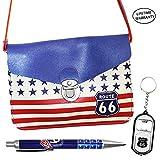 DIYJewelryDepot Historic Route 66 Highway Hand Bag w/ Strap US Flag + Pen + Keychain Bottle Opener