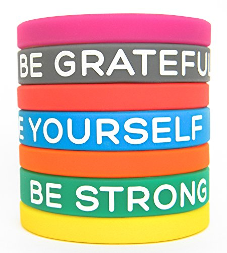 "Solza Inspirational Silicone Wristbands by 7-Piece Set Rubber Band Bracelets, 7 Different Colors & Messages to Brighten Your Day | Adult Unisex Size, 8"" x 0.5"" by Solza"