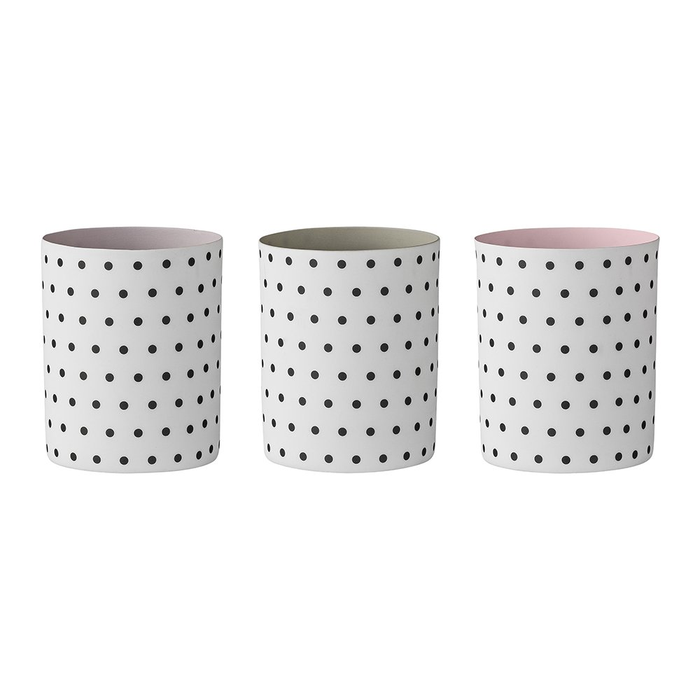 Votives, White w/Black Dots, 3 ass. [SET] Bloomingville