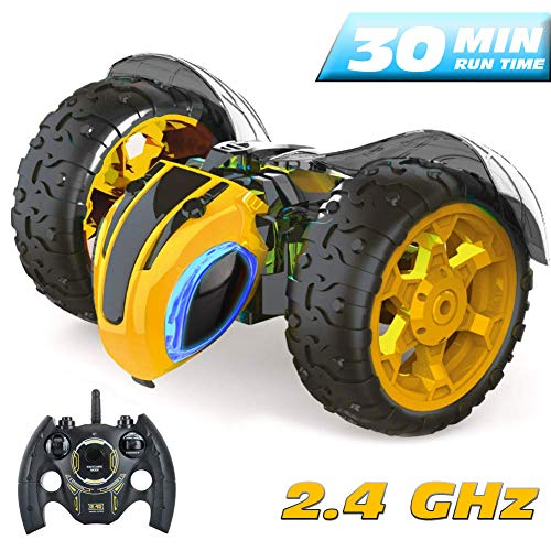 Remote Control RC Stunt Cars Toys Xmas Gifts for Kids Adults,1: 14 Rotating 360°Flips 2.4Ghz Electric Rechargable Radio Control Race Car with Color Headlights for 3 4 5 6 7 8 9 10 Years Old Boys Gi