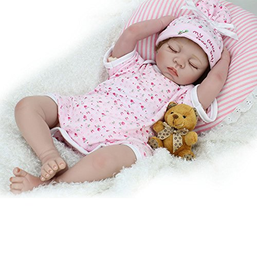 """CHAREX Reborn Baby Doll Lifelike Sleeping Newborn Dolls, 22"""" Soft Silicone Vinyl Weighted Girl Gift Set for Ages 3+"""