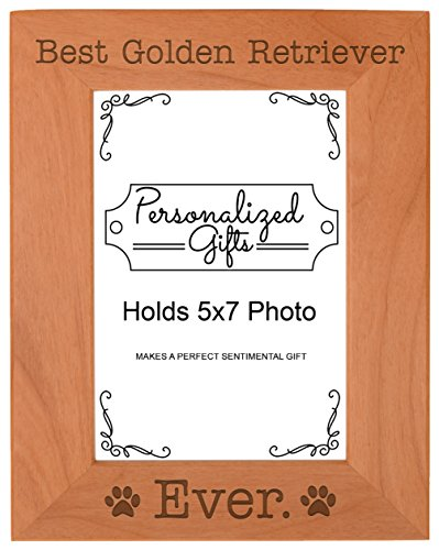 Golden Retriever Frame - ThisWear Golden Retriever Frame Best Golden Retriever Ever Natural Wood Engraved 5x7 Portrait Picture Frame Wood