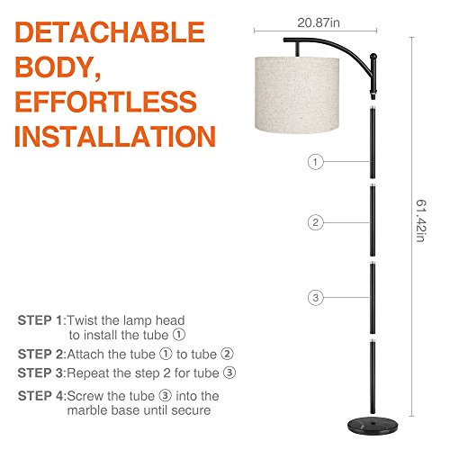 Zanflare LED Floor Lamp-Classic Arc Floor Lamp with Hanging Lamp Shade, Uplight Lamp for Living Room,Bedroom,Den Office, Energy Saving Bedside Lamp with Long Lasting,Black by Zanflare (Image #6)