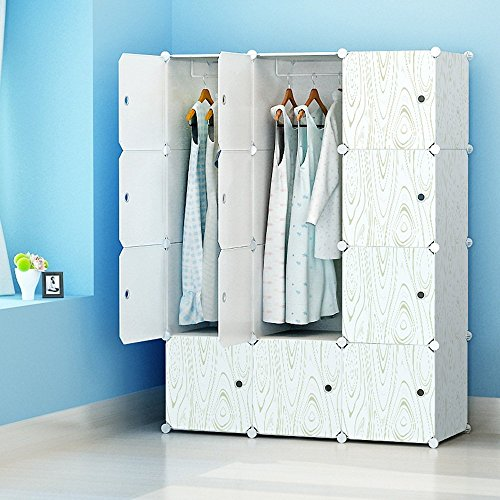 MAGINELS Portable Clothes Closet Modular Plastic Wardrobe Freestanding Storage Organizer with doors, large space and sturdy construction, 6 Cubes & 2 Hanging Sections, Wood Grain Pattern (Wardrobe Plastic Door)