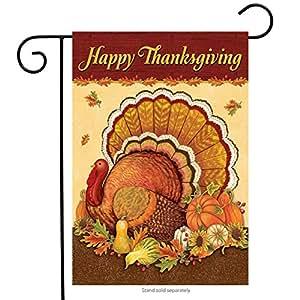 """Día de Acción de Gracias Turquía bandera de Jardín Vacaciones Turquía día 12,5""""x 18"""" Briarwood Lane"""