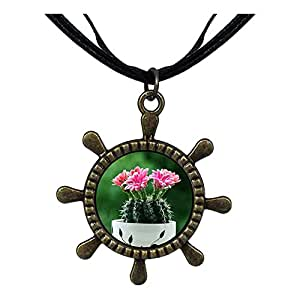 Chicforest Bronze Retro Style Cute Cactus Ship Steering Wheel Pendant