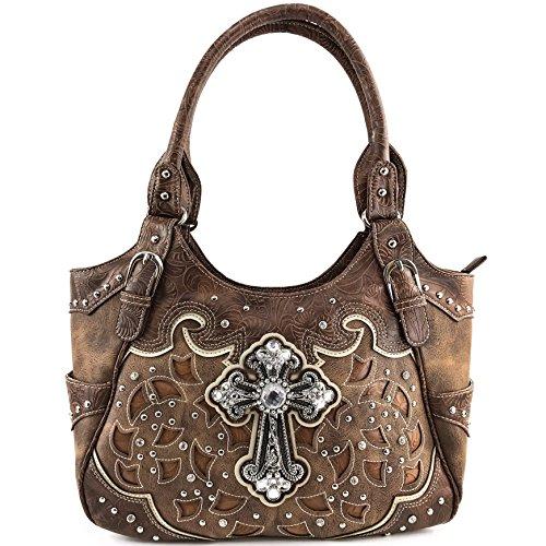 - Justin West Tooled Leather Laser Cut Rhinestone Cross Studded Shoulder Concealed Carry Tote Style Handbag Purse (Brown Handbag)