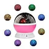 Hogoo Dream Starry Romantic Rotating Cosmos Moon Projector 360 Degree Rotation 4 LED Bulbs 9 Color Changing 3 Kinds of Switching Modes 39.38 inch USB Cable for Men Women Kids Baby Best Gifts,Pink