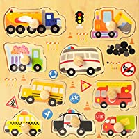 FunBlast Wooden Colorful Learning Educational Board for Kids Set of 1 Puzzle Board - Vehicles