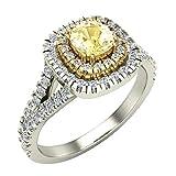 18K Gold Fancy Yellow Cushion Cut Diamond Double Halo Split Shank Engagement Rings 0.92 Carat Wt
