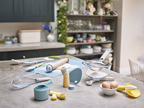 Joseph Joseph Fin Silicone Bowl Scraper With Integrated Stand Upright for Baking, Blue