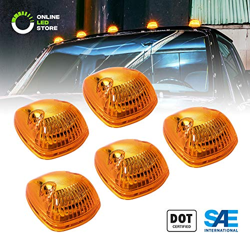 5pc Amber LED Cab Lights [DOT/SAE Certified] [12 LED] [Waterproof] [Heavy Duty] LED Roof Top Marker Running Lights - (Universal Fit or Replacement for 94-98 Dodge Ram) (M2 Rot)