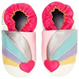 Momo Baby Girls Soft Sole Leather Crib Bootie Shoes - 6-12 Months/3-4 M US Toddler