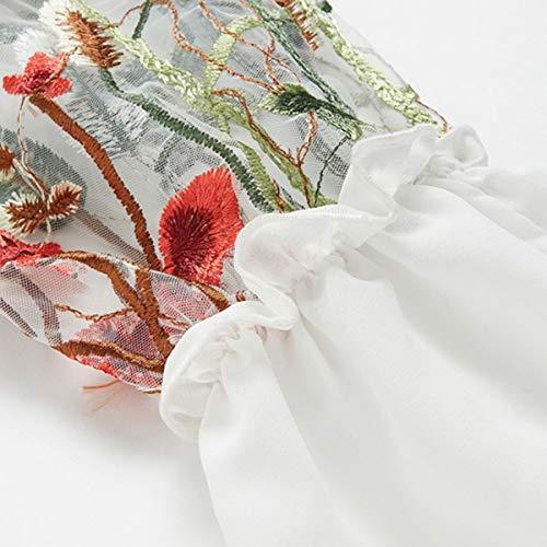 Longues Dentelle en Manches en Gadfjuotg Chemisette Fleurs Chemisier vase brode Dentelle White HwRHpqzfS