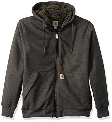 Carhartt Men's Rain Defender Rockland Sherpa Lined Hooded Sweatshirt, Carbon Heather, Small