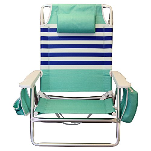 Price comparison product image Nautica Reclining Portable Beach Chair with Insulated Cooler (Mint and Blue)
