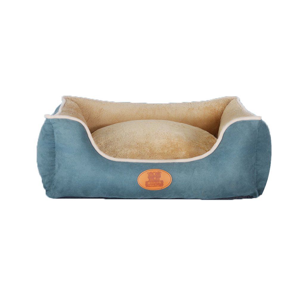 bluee MYQQ Kennel Four Seasons Pet Mat Dog House Pet Supplies Bed Wear Resistance DoubleSided Available Removable and Washable (color   blueeBackrest, Size   XXL)