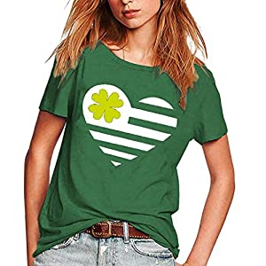 Cinnamou Green Women Girls Plus Size Casual Simple Heart Clover Printed Tees Shirt Round Neck Short Sleeve T-Shirt Blouse Tops