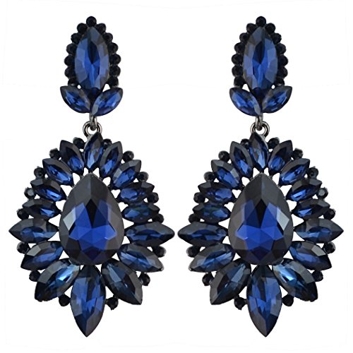idealway 5 Colors Luxury Drop Earring Inlay Crystal Rhinestone Dangle Long Earrings For Women Jewelry (Blue)
